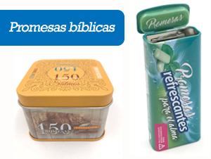 Promesas bíblicas en cajas metálicas