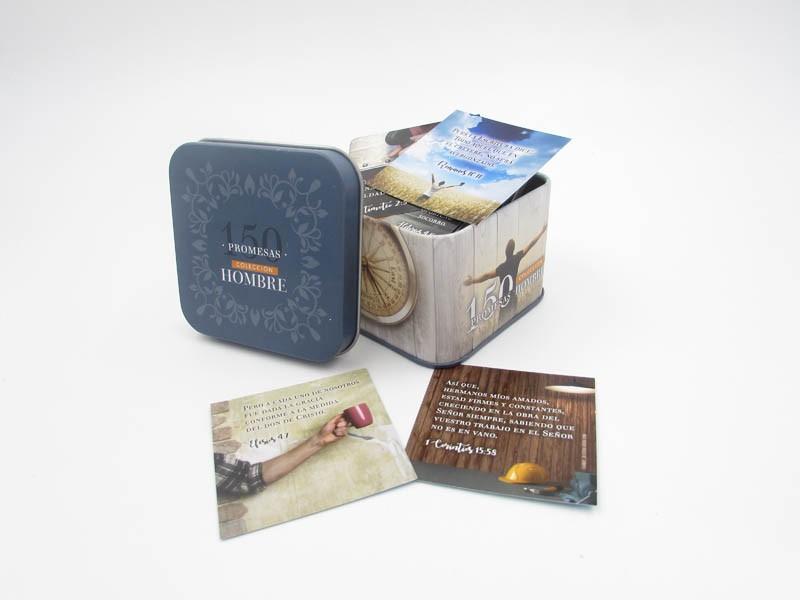 150 Promesas bíblicas para hombres en caja metálica