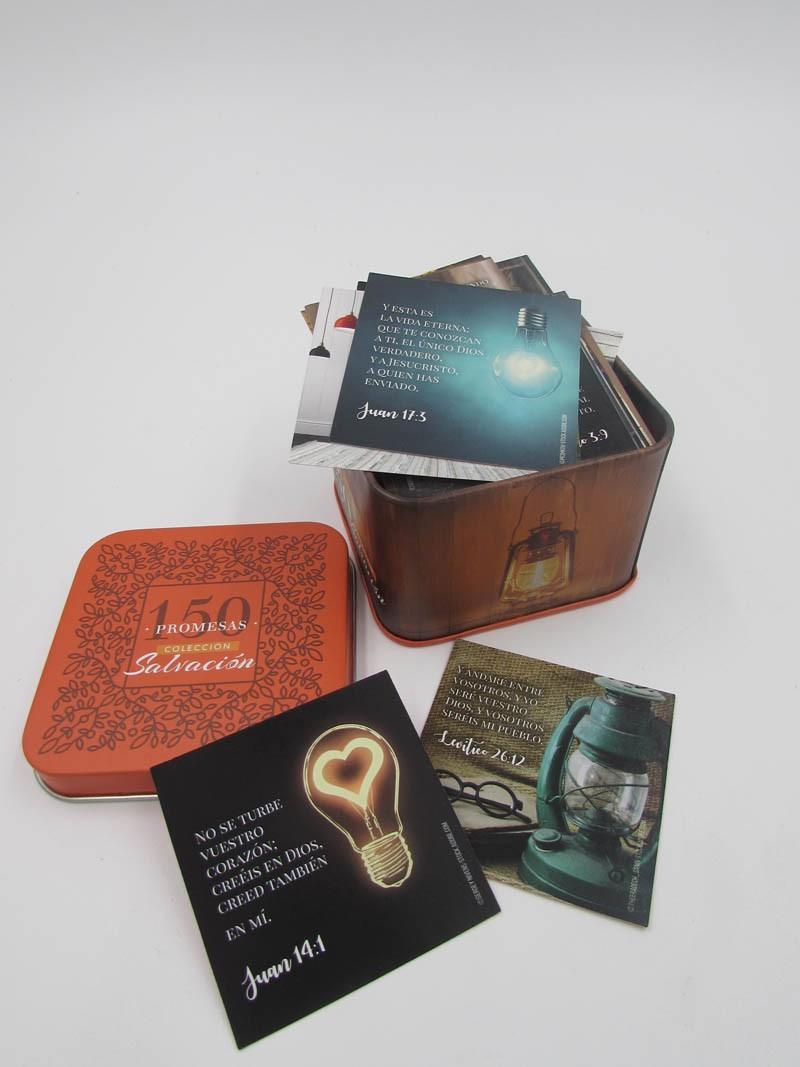 150 Promesas bíblicas Salvación en caja metálica
