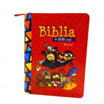 Biblia Mi Gran Viaje Reina Valera 1960 imitación Piel Rojo Con Cierre, Letra Grande