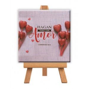 "Minilienzo ""Amor"" (1 Corintios 16:14) 9x9 cm"