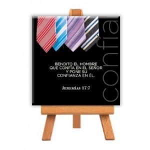 "Minilienzo ""Confía"" (Jeremías 17:7) 9x9 cm"