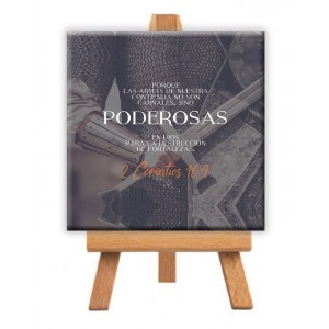 "Minilienzo ""Poderosas"" (2 Corintios 10:4) 9x9 cm"