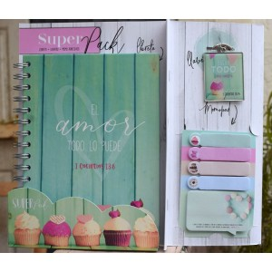 Pack libreta + Llavero + Sticky Notes Amor