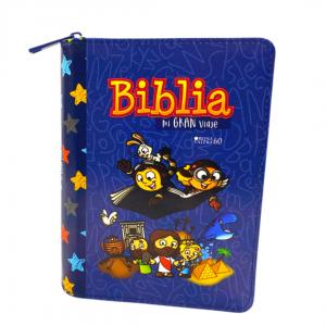 Biblia Mi Gran Viaje Reina Valera 1960 imitación Piel Azul Con Cierre, Letra Grande