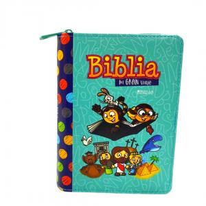 Biblia Mi Gran Viaje Reina Valera 1960 imitación Piel Turquesa Con Cierre, Letra Grande