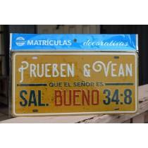 Placa Carro Prueben & Vean